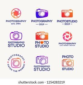 Set of photography and photo studio logo isolated on white background for photostudio, photoalbum, photoschool, photoeducation, photolaboratory, food photo, wedding. 10 eps