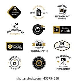 Set of photography and photo studio logo black colour