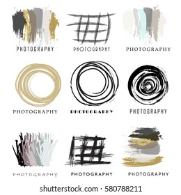 Set of photography and photo studio logo black color. Vector design elements, business signs, logos, identity, labels, badges and other branding objects for your business. Vector illustration