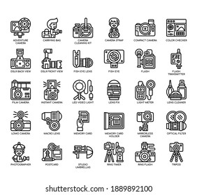 Set of Photography thin line and pixel perfect icons for any web and app project.