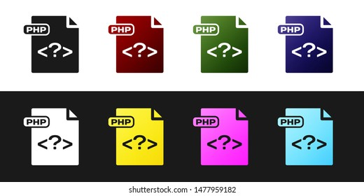 Set PHP file document. Download php button icon isolated on black and white background. PHP file symbol.  Vector Illustration