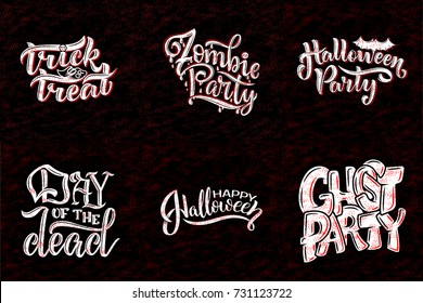 Set with phrase for Halloween, vector lettering. Holiday calligraphy for banner, poster, greeting card, party invitation. Vector illustration.