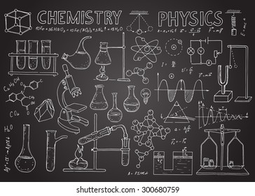 Set of physical and chemical equipment. Vector  hand drawing icons on the chalkboard. Vintage background. Linear illustration.  Back to School.