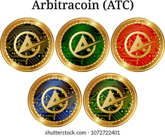 Set of physical golden coin Arbitracoin (ATC), digital cryptocurrency. Arbitracoin (ATC) icon set. Vector illustration isolated on white background.