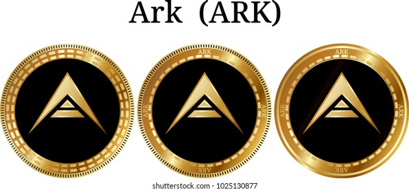 Set of physical golden coin Ark (ARK), digital cryptocurrency. Ark (ARK) icon set. Vector illustration isolated on white background.