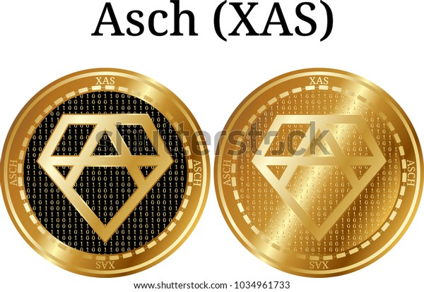 Set of physical golden coin Asch (XAS), digital cryptocurrency. Asch (XAS) icon set. Vector illustration isolated on white background.