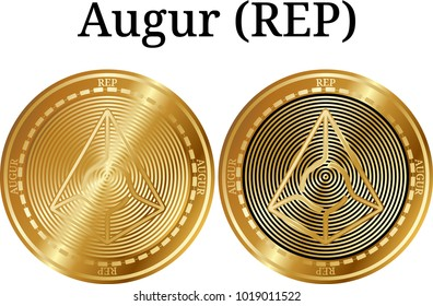 Set of physical golden coin Augur (REP), digital cryptocurrency. Augur (REP) icon set. Vector illustration isolated on white background.