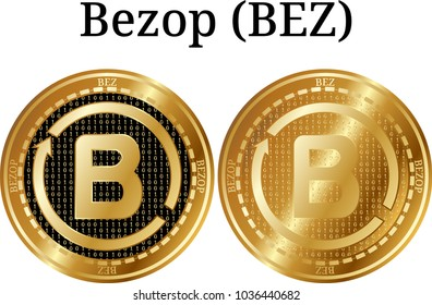 Set of physical golden coin Bezop (BEZ), digital cryptocurrency. Bezop (BEZ) icon set. Vector illustration isolated on white background.