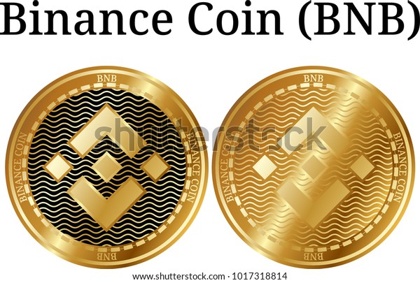 Set of physical golden coin Binance Coin (BNB), digital cryptocurrency. Binance Coin (BNB) icon set. Vector illustration isolated on white background.