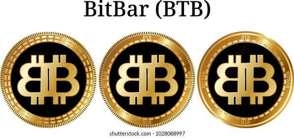 Set of physical golden coin BitBar (BTB), digital cryptocurrency. BitBar (BTB) icon set. Vector illustration isolated on white background.