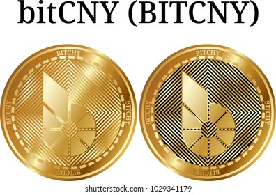 Set of physical golden coin Bitcny (BITCHY), digital cryptocurrency. Bitcny (BITCHY) icon set. Vector illustration isolated on white background.