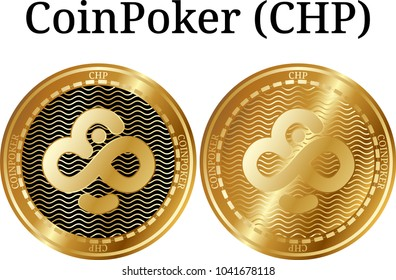 Set of physical golden coin CoinPoker (CHP), digital cryptocurrency. CoinPoker (CHP) icon set. Vector illustration isolated on white background.