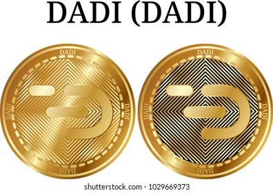 Set of physical golden coin DADI (DADI), digital cryptocurrency. DADI (DADI) icon set. Vector illustration isolated on white background.
