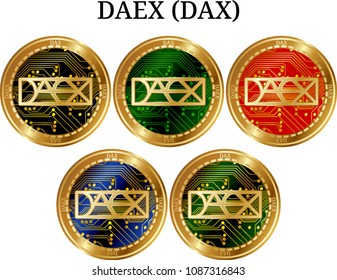 Set of physical golden coin DAEX (DAX), digital cryptocurrency. DAEX (DAX) icon set. Vector illustration isolated on white background.