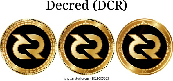Set of physical golden coin Decred (DCR), digital cryptocurrency. Decred (DCR) icon set. Vector illustration isolated on white background.