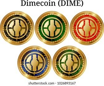 Set of physical golden coin Dimecoin (DIME), digital cryptocurrency. Dimecoin (DIME) icon set. Vector illustration isolated on white background.