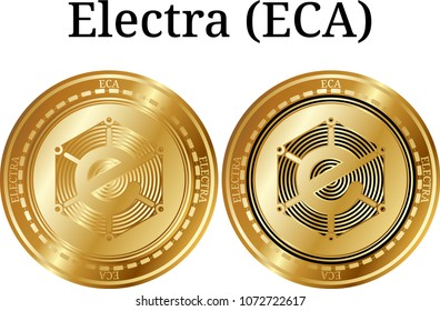 Set of physical golden coin Electra (ECA), digital cryptocurrency. Electra (ECA) icon set. Vector illustration isolated on white background.