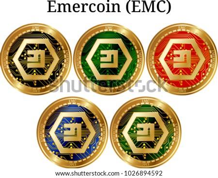 Set Physical Golden Coin Emercoin Emc Stock Vector Royalty Free