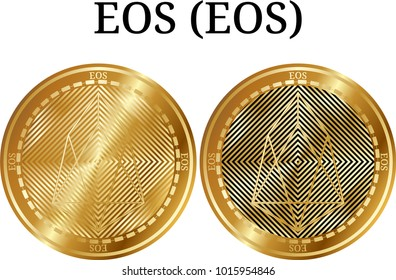 Set of physical golden coin EOS (EOS), digital cryptocurrency. EOS (EOS) icon set. Vector illustration isolated on white background.