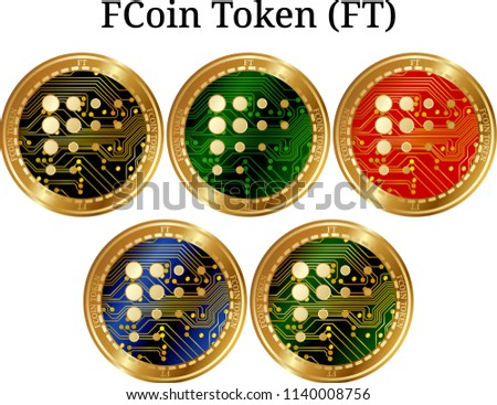 Set Physical Golden Coin F Coin Token Stock Vector (Royalty Free