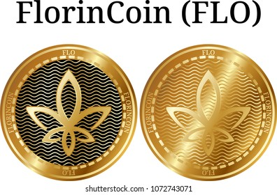 Set of physical golden coin FlorinCoin (FLO), digital cryptocurrency. FlorinCoin (FLO) icon set. Vector illustration isolated on white background.