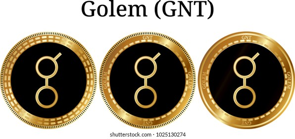 Set of physical golden coin Golem (GNT), digital cryptocurrency. Golem (GNT) icon set. Vector illustration isolated on white background.