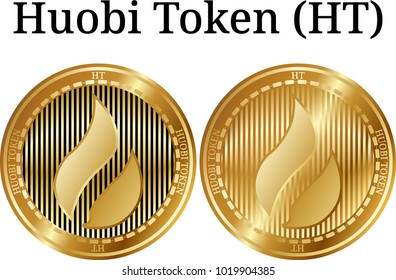 Set of physical golden coin Huobi Token (HT), digital cryptocurrency. Huobi Token (HT) icon set. Vector illustration isolated on white background.