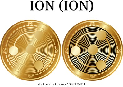 Set of physical golden coin ION (ION), digital cryptocurrency. ION (ION) icon set. Vector illustration isolated on white background.