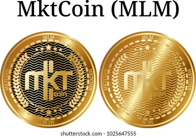 Set of physical golden coin MktCoin (MLM), digital cryptocurrency. MktCoin (MLM) icon set. Vector illustration isolated on white background.