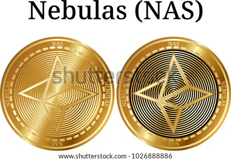 Set of physical golden coin Nebulas (NAS), digital cryptocurrency. Nebulas (NAS) icon set. Vector illustration isolated on white background.