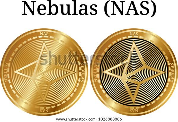 Set of physical golden coin Nebulas (NAS), digital cryptocurrency. Nebulas (NAS) icon set. Vector illustration isolated on white background.