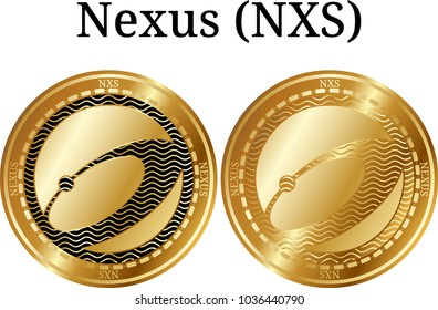 Set of physical golden coin Nexus (NXS), digital cryptocurrency. Nexus (NXS) icon set. Vector illustration isolated on white background.