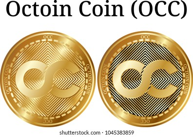 Set of physical golden coin Octoin Coin (OCC), digital cryptocurrency. Octoin Coin (OCC) icon set. Vector illustration isolated on white background.