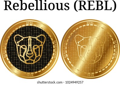 Set of physical golden coin Rebellious (REBL), digital cryptocurrency. Rebellious (REBL) icon set. Vector illustration isolated on white background.