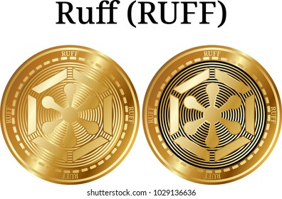 Set of physical golden coin Ruff (RUFF), digital cryptocurrency. Ruff (RUFF) icon set. Vector illustration isolated on white background.