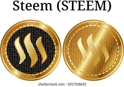 Set of physical golden coin Steem (STEEM), digital cryptocurrency. Steem (STEEM) icon set. Vector illustration isolated on white background.