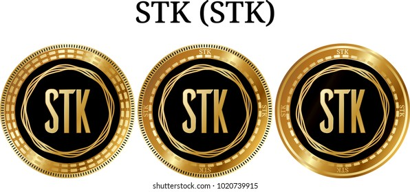 Set of physical golden coin STK (STK), digital cryptocurrency. STK (STK) icon set. Vector illustration isolated on white background.