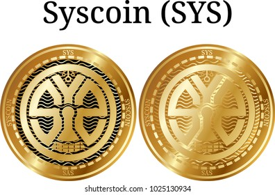 Set of physical golden coin Syscoin (SYS)2, digital cryptocurrency. Syscoin (SYS)2 icon set. Vector illustration isolated on white background.