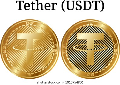 Set of physical golden coin Tether (USDT), digital cryptocurrency. Tether (USDT) icon set. Vector illustration isolated on white background.