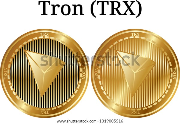 Set Physical Golden Coin Tron Trx Stock Vector (Royalty Free) 1019005516