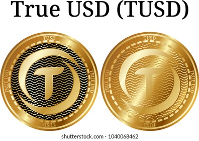 Set of physical golden coin True USD (TUSD), digital cryptocurrency. True USD (TUSD) icon set. Vector illustration isolated on white background.
