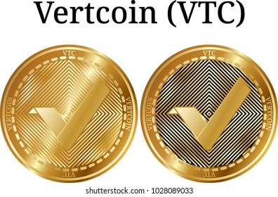 Set of physical golden coin Vertcoin (VTC), digital cryptocurrency. Vertcoin (VTC) icon set. Vector illustration isolated on white background.