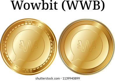 Set of physical golden coin Wowbit (WWB), digital cryptocurrency.  icon set. Vector illustration isolated on white background.