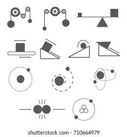 set of physics icon and science, mass, gravity, atom, resistance, nuclear.