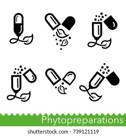Set of phytopreparations icons. Natural plant-based medicines. Nutraceuticals including dietary supplements. Vector Illustration
