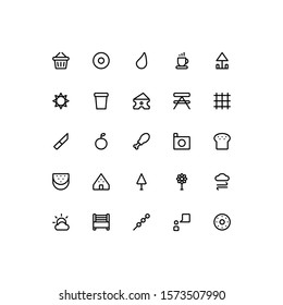 Set of Picnic outside nature outline style icon - vector