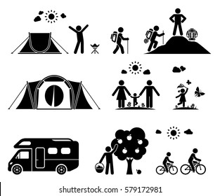 Set of pictogram icons presenting various activities on camping in the nature. Family vacation.