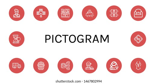 Set of pictogram icons such as Judo, Leak, Interview, Yatch, Chocolate, Armchair, Truck, Helmet, Hosting, Butcher, Plumber, Swimsuit, Sand clock, Curves , pictogram