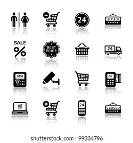 Set pictogram supermarket services, Shopping Icons
