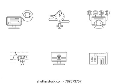 Set of pictogram for web site. Simple linear icon for your business.